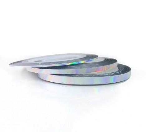 JUSTNAILS Irisierende Stripes silver Set